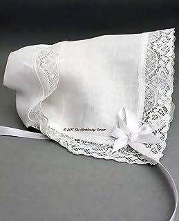 Cathedral Lace Irish Linen Keepsake Christening Handkerchief Bonnet