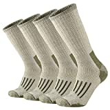 ONKE Men's Merino Wool Moisture Wicking Control Thermal Outdoor Hiking Heavy Cushion Crew Socks 4 Pack(Green L)