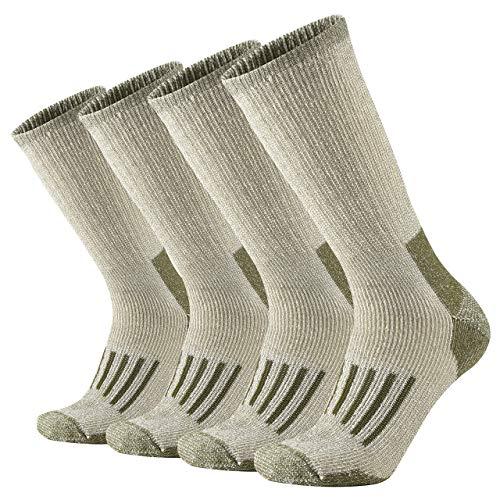 ONKE Men's Merino Wool Moisture Wicking Control Extra Thermal Outdoor Hiking Heavy Cushion Crew Socks 4 Pack(Green L)