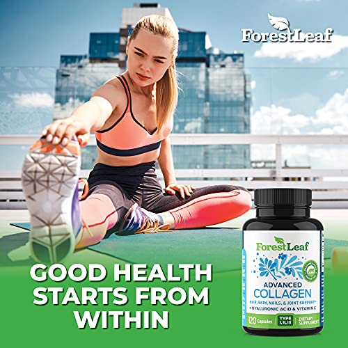 514 kSNaDZS. SL500  - Advanced Collagen Supplement, Type 1, 2 and 3 with Hyaluronic Acid and Vitamin C - Anti Aging Joint Formula - Boosts Hair, Nails and Skin Health - 240 Capsules - by ForestLeaf