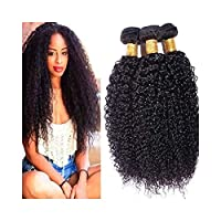 YULINGTRADE ブラジルのアフロ変態カーリーヘア1バンドルブラジルのバージン人間の髪バンドル#1Bカラー(1バンドル、50g)黒人女性用 (色 : 黒, サイズ : 16 inch)