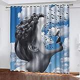 ASNIVI Anti-Uv Opaco Cortina Belleza Cielo Azul Nubes Blancas Creatividad 2 X 34 X 54 Inch Cortina Con Estampado Cortinas Termicas Ventanas Salon Moderno Habitacion Juvenil Infantil Comedor Cuarto Coc