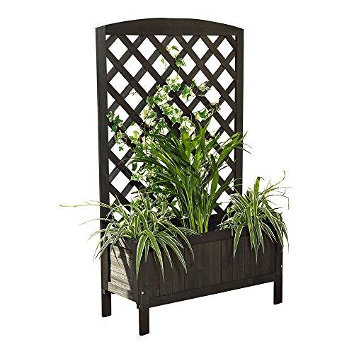 Melko Pflanzkasten mit Spalier Rankhilfe Ketterpflanzen Holz Pflanzkübel mit Sichtschutz Rankgitter mit Blumenkasten