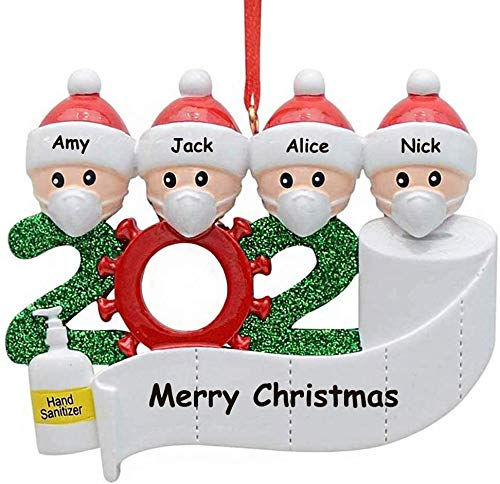 Besitek 2020 Ornament, Christmas Ornaments 2020, Decor Kit Mask Ornament, Ornaments for Christmas Tree (You Can Custom Name 4)
