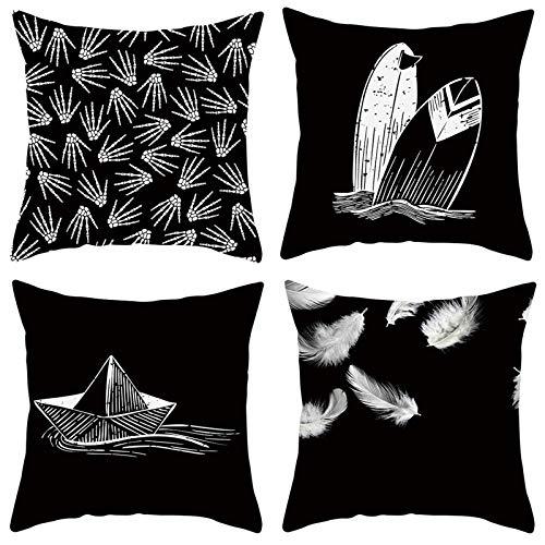 AmDxD Juego de 4 fundas de almohada cuadradas de poliéster, 45,7 x 45,7 cm, plumas de esqueleto de mano, juego de 4, color blanco y negro