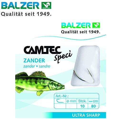 Balzer Camtec Zander Haken 80cm - 10 gebundene Angelhaken zum Zanderangeln, Einzelhaken, Zanderhaken, Haken, Raubfischhaken, Hakengröße/Schnurdurchmesser:Gr. 1 / 0.28mm