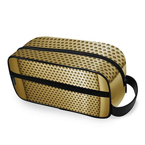 Herramientas de almacenamiento Estuche de tren cosmético Caja de viaje Bolsa de aseo portátil Bolsa de maquillaje Plantilla de metal dorado