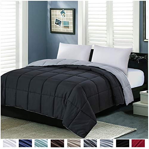 Homelike Moment Lightweight Comforter King All Season Down Alternative Comforter Summer Duvet Insert Black Quilted Bed Comforters Reversible with Corner Tabs King Size Black/Light Grey