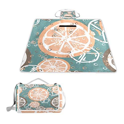 XINGAKA Couverture de Pique-Nique,Fruits Seamless Pattern Orange Pamplemousse Ice,Tapis Idéale pour Plage Jardin Parc Camping