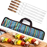 Sviqskr Tenedor de Barbacoa Barbacoa al Aire Libre a la Parrilla de Acero Inoxidable Grill Edwes Eco-Wood Handle U-Type Grilled Needle Grilled Fork Grilled 5-Piece Set