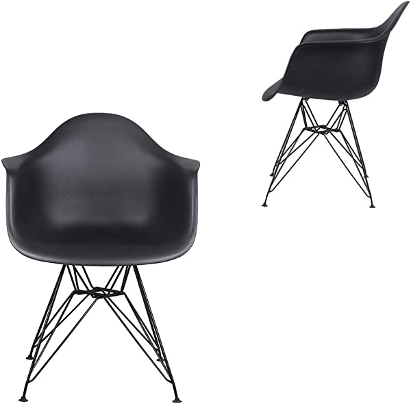 Eames Style Black Dining Office Arm Chair Set Of 2 Metal Legs Seat Height 18 Inch Mid Century Modern DAR Chair