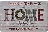 yuqier Personalized Name There is No Place Like Home for The Holidays Sign Custom Family Wall Decor Indoor Outdoor Front Porch Door Metal Wood Signs Living Room Art Decoration