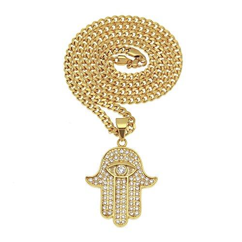 Mcsays Collar de cadena con colgante de mano de Fátima con ojo, acero Inoxidable, estilo hip-hop, para hombre, color dorado