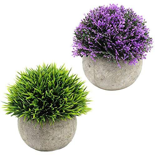 Ksnnrsng Plantas Artificiales Plásticas Mini Hierba Verde Falsa Flor pequeñas en Maceta para decoración del hogar o la Oficina… (2 Piezas)
