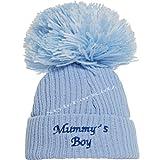 Soho Fashions Luxury British Made Baby Boy Mummys Boy Daddys Boy Cute Decorative Frilly Knitted Pom Pom Newborn Baby Hats (Small (0-3 Months), Mummys Boy (Full Blue))