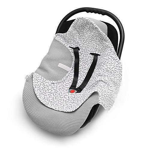 EliMeli Einschlagdecke für Babyschale 100% Baumwolle - Leichte Baby Decke für Autositz aus Waffelstoff und Musselin für den Sommer und Frühling, universal z.B. Maxi Cosi (Grau - Zygzak)