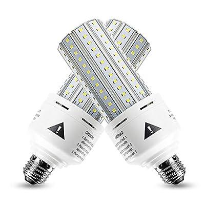 2 Pack 500W Equivalent LED Corn Light Bulb 7500 Lumen 5000K 60W Cool Daylight White E26/E27 Medium Base for Outdoor Indoor Workshop Garage Warehouse Factory Backyard Street