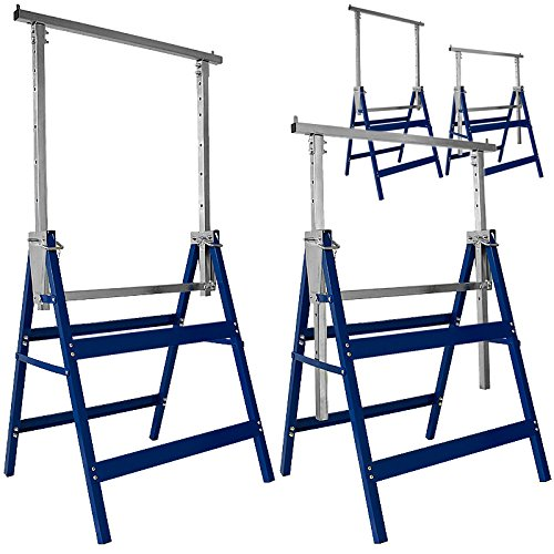 Deuba 4 x Caballetes de trabajo ajustables en altura 81-130cm capacidad de carga 800Kg plegables de Acero multifuncional Azul