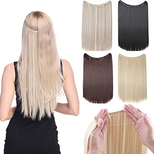 SEGO Invisible Wire Hair Extensions One Piece Synthetic Hidden Crown Hair Extensions for Women Secret Fish Line Headband Hairpieces Long Straight No Tape No Glue 24 Inch 613C Bleach Blonde
