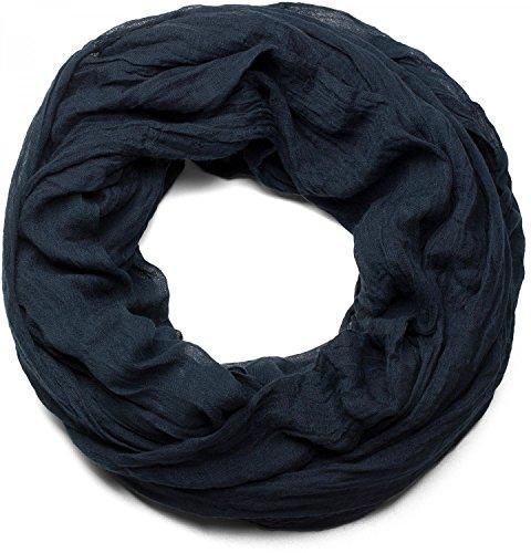 styleBREAKER unifarbener Loop Schlauchschal, weich und leicht, Unisex 01016069, Farbe:Midnight-Blue/Dunkelblau