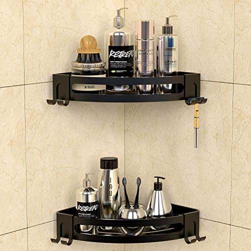 GeekDigg 2 Pack Corner Shower Caddy, Adhesive Bathroom Shelf Wall Mounted with Razor Holder, No Drilling Kitchen Racks Shower Caddies, Aluminum Storage Organizer for Bathroom, Toilet, Kitchen and Dorm