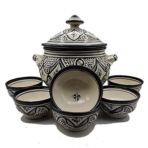 Sopera 6 tazas cerámica terracota marroquí sopa fondue cocina 2505210912
