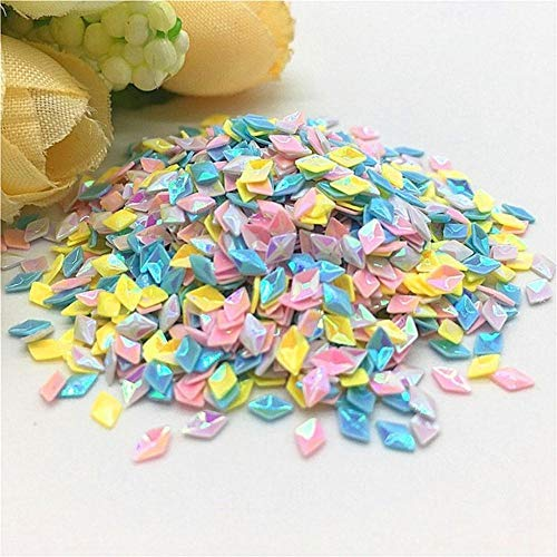 Mix Geel Wit Roze Blauw Nagel Pailletten 1-5mm Ster Hart Bloem PVC Losse Pailletten DIY Nail Art Confetti Decor 10 / 20g, 3mm Diamant 2, Mix YE WH PK BU 10g