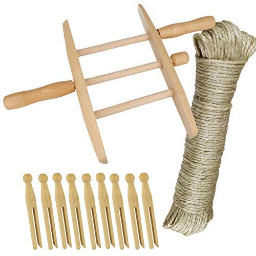 Wäsche Set mit Holzwickler , Rundkopfklammer 10 Stück und Sisalseil 30 Meter