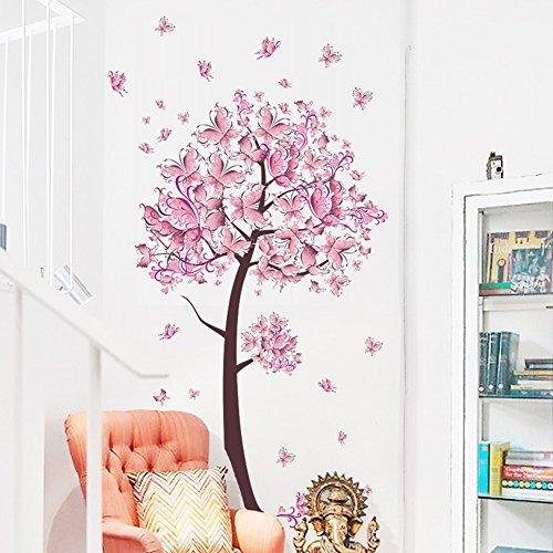LianLe 45 * 60cm Wandtattoo Wandaufkleber Wandsticker Rosa Schmetterling Abnehmbar für Whonzimmer Schlafzimmer Kinderzimmer(Rosa Schmetterling Blüten)