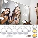 Wesho Kit de Lumière LED pour Miroir de Courtoisie de Hollywood pour maquillage, Lampe pour Miroir Cosmétique, Lampe de Coiffeuse Table, 10 Ampoules LED, Miroir Non Inclus, Maquillage, Salle de Bain