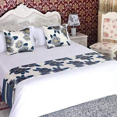 YYSWIM Chemin de Lit Etoile européenne, de lit, Drapeau de lit Simple Haut de Gamme, Couverture de lit Coussin de Fin de lit, lit et Petit déjeuner avec Drapeau de Table, Fleur de Lotus Bleu foncé