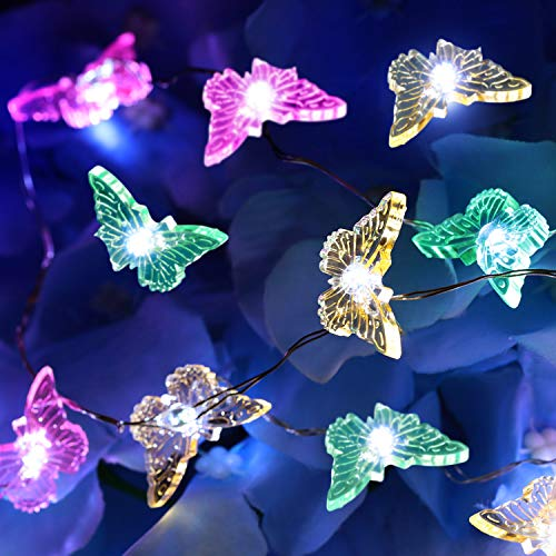 Summer String Lights Butterfly Shape String Lights Colorful Cute Decorative Lights with Remote and Control Box for Indoor Outdoor Home Party Wedding Garden Decor (10 Feet/ 3 Meters, 40 Lights)
