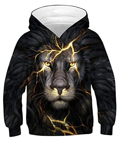 ALISISTER Teenager Felpe con Cappuccio 3D Cool Lion Design Felpa Sweatshirt Maglione da Bambino Manica Lunga con Cappuccio Jumper L
