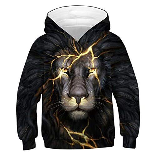 ALISISTER Unisex Felpe con Cappuccio 3D Terribile Fulmine Leone Pullover Maglione Hoodies Casual Manica Lunga Sweatshirt per Bambini con Tasche S