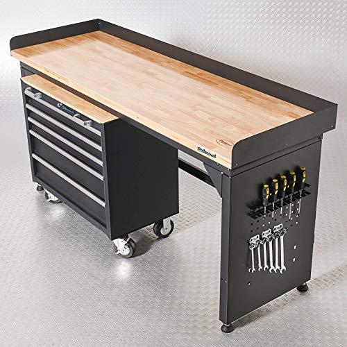 Werkbank mit Arbeitsplatte aus Eiche und Werkzeugwagen mit 5 Schubladen - 200 cm