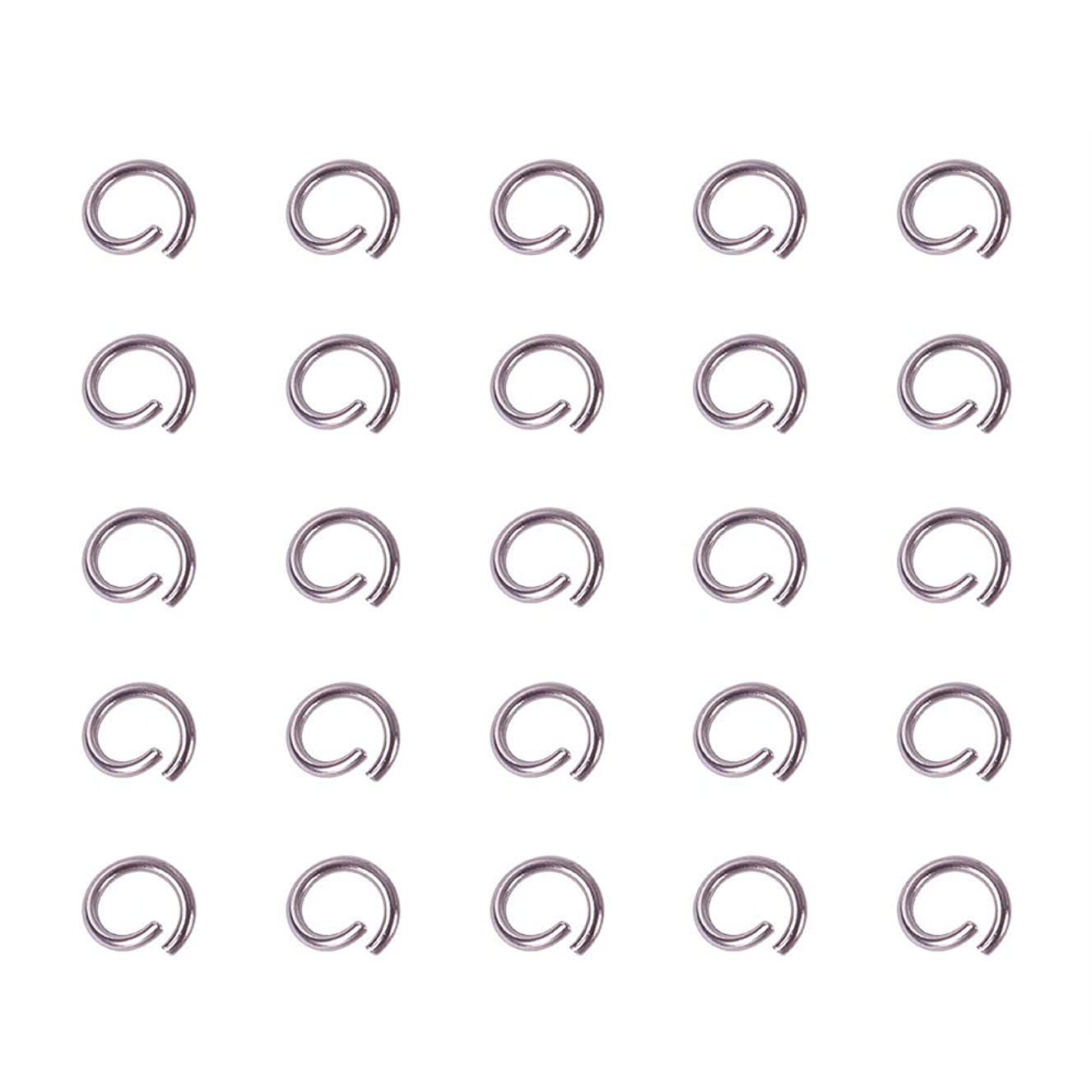 PandaHall Elite About 480 Pcs 304 Stainless Steel Open Jump Rings Diameter 4mm Wire 21-Gauge for Jewelry Making