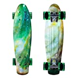 ENKEEO Skateboards 22 Inches Complete Skateboard Cruiser Plastic Banana Board with Bendable Deck and Smooth PU Casters for Kids Boys Youths Beginners, 220 Ibs.Star