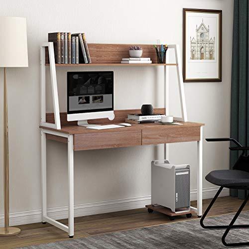 Schreibtisch aus MDF-Holz und Stahl,Arbeitstisch im Büro, Zuhause Computertische Bürotisch mit Ablagen Regal, 2 Schubladen, Ablagen für Bücher Fotos, Große Tischfläche 120 x 55 x 145 cm (Holzfarbe)