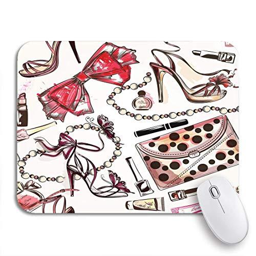 Adowyee Gaming Mauspad Aquarell Hand rosa weibliche Schuhe Lippenstift Parfüm Kosmetik feminine rutschfeste Gummi Backing Mousepad für Notebooks Computer Mausmatten