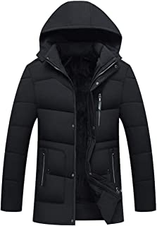 ODFMCE ダウンジャケット メンズ ダウンコート 秋冬 厚手 フード付き 無地 中綿 裏起毛 防寒 大きいサイズ