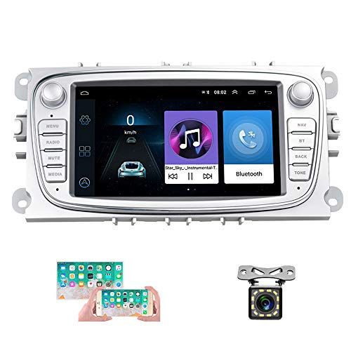 Android autoradio für Ford GPS Navigation camecho 7 Zoll kapazitive Touchscreen Auto Stereo Player WiFi Bluetooth fm empfänger dual USB für Ford Focus Mondeo c-max s-max Galaxy ii kuga (Silber)