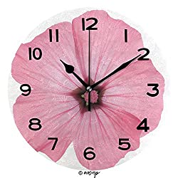 AmaUncle Round Wall Clock Colored Rose Mallow Isolated On White Background 10 inch Morden Wall Clocks Silent Round Decorative Clock No05483