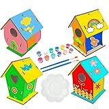 Huahuanghui Casa per Uccelli in Legno,14pcs Kit casa per Uccelli in Legno,Kit Fai da Te per la casa degli Uccell,Bambini Casetta Uccelli in Legno,Casetta Uccelli in Legno Fai-da-Te Kit