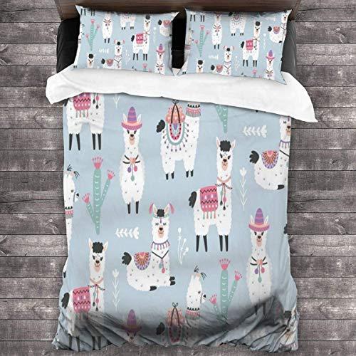 KDRW Cartoon-Llama-Alpaca 3 Pieces Bedding Set Ultra Soft 3 Pieces Bedspread Coverlet Set Skin-Friendly Bedspread Coverlet Set with Concealed Corner Ties Thermal Comforter Sheet Set 86'' X70