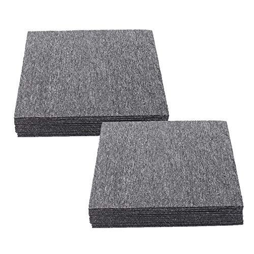 Teppichfliesen selbstklebend Teppichboden Bodenfliesen 50x50cm Strapazierfähig mit Klebepatch Größe:5 m2 (20Stück- Grau Teppich)