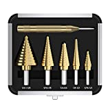 Step Drill Bit Set & Automatic Center Punch 5pcs HSS Cobalt...