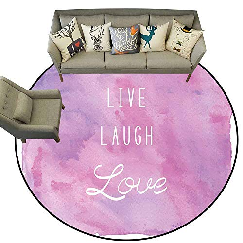 Non-Slip Round Rugs,Live Laugh Love Decor,Dreamy Watercolors Brushstrokes with Positive Quote,Light Pink Lavander White,Round Entryway Rug Floor Mats Welcome Mat Living Room Rug 4' feet