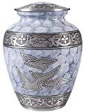 Cloud Fire Large Urn for Human Ashes- A Beautiful and Humble Urn for Your Loved Ones Remains. This Lovely - Urn Will Bring You Comfort Each Time You See It, Size 9x7 inch-Silver with Birds Engraved