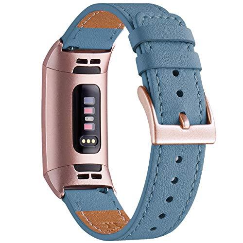 WFEAGL Armband Kompatibel für Fitbit Charge 3 Armband/Fitbit Charge 4 Armband Leder,Klassisch Einstellbares Ersatzarmband Sport Kompatibel für Fitbit Charge 3/4(Cape Blau+Roségold Adapter)