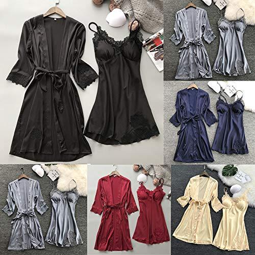 Zalanala Women's Lace Robe Dress Lingerie Babydoll Nightdress Sleepwear Set (S, Navy)
